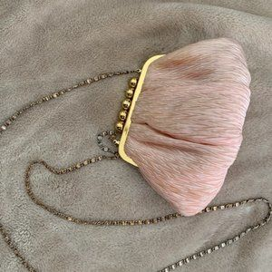 Vintage pink Purse with Gold Clasp